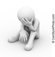 3d, terneergeslagen, verdrietige , persoon
