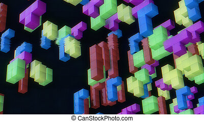 3d rendering of 3d figures from tetris vintage game on a faded screen with tv noise.