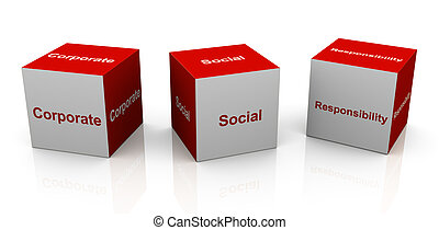 corporate social responsibility - 3d text cubes of buzzword...