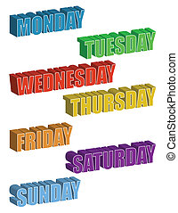 3d text. Days of the Week isolated over a white background