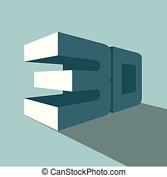 3D text design. Isolated on blue background.