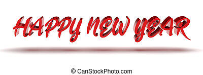 3d text HAPPY NEW YEAR isolated on white background