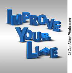 3D Text Inspiration Message Improve Your Life - An...