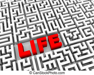3d text life in puzzle maze