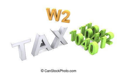 3d text of TAX forms - 3D illustration of text of different...