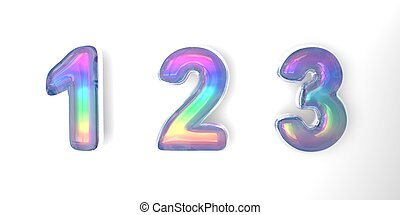 3D text of the letter 123 in the style of soap bubbles with a rainbow tint on