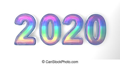 3D text of the letter 2020 year in the style of soap bubbles with a rainbow tint on a white background