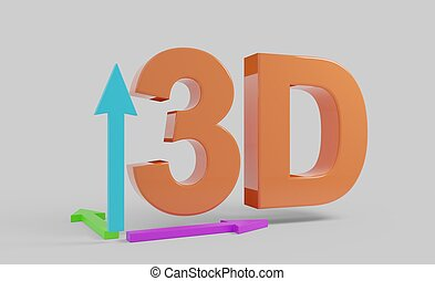 3D text orange with arrows illustration