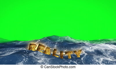 3D text reality floating in the water on green screen