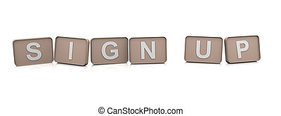 3d Text sign up - 3d render of text sign up