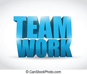 3d text teamwork concept illustration
