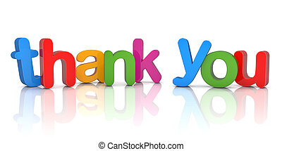 3d text - thank you - Colorful 3d rendering of the word...