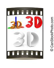 3d text. The film strip
