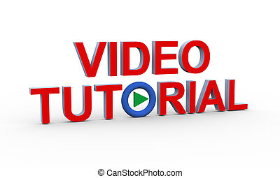 3d text video tutorial - 3d rendering of concept of video ...