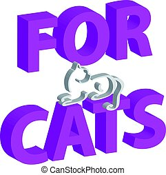 3D text with cat isolated on white background. Home pet.