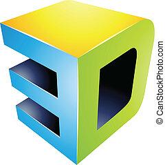 3d, textanzeige, technologie, symbol