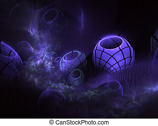 3d, textura, fractal., color, azul, primer plano, esferas, ...