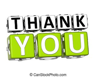 3D Thank You Button Click Here Block Text