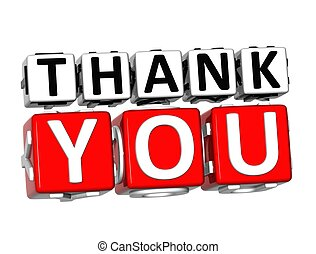 3D Thank You Button Click Here Block Text over white...