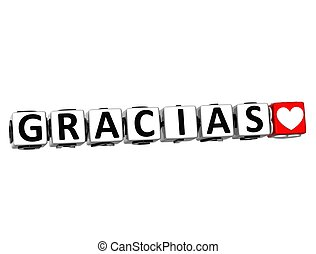 3D Thank You In Spanish Language Button Click Here Block Text