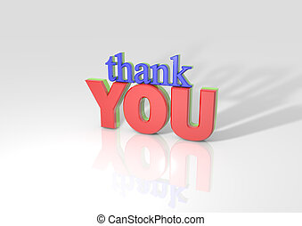 3D Thank you with long shadow