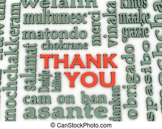 3d Thank You Word Cloud background, all languages