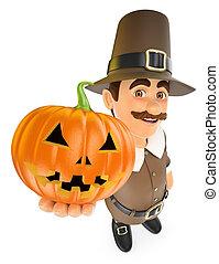 3D Thanksgiving man with a big pumpkin