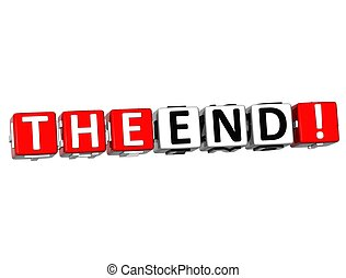 3D The End Cube text on white background