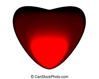 3D the image of red heart.