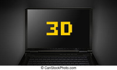 3D theme is display on laptop screen