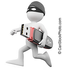 3D Thief - Hacker. Rendered at high resolution on a white ...