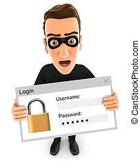 3d thief holding a login message