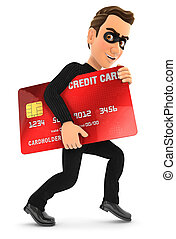 3d thief with a stolen credit card, illustration with...