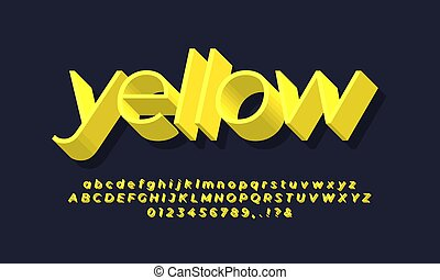 3d thin yellow text or font  effect design icon vector design