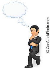 3D Thoughtful businessman with a thinking bubble