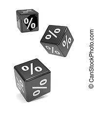 3d Three black percent dice