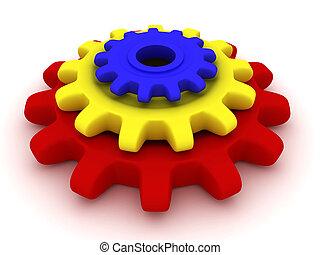 3d Three coloured gears lie.