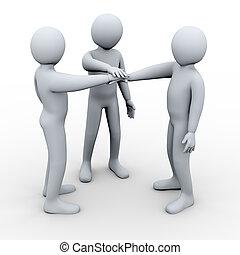 3d three friends partnership - 3d illustration of poeple...