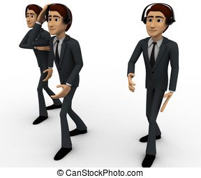 3d three men with headphone concept