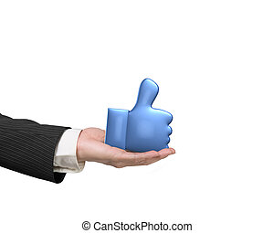 3D thumb up with man hand holding