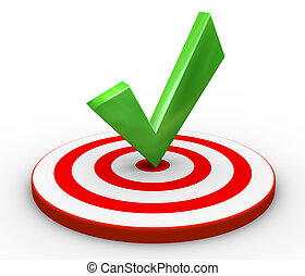 3d render of right tick on target