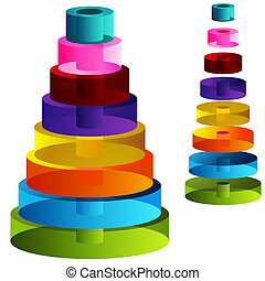 3d Tiered Cylinders - An image of 3d tiered cylinders.