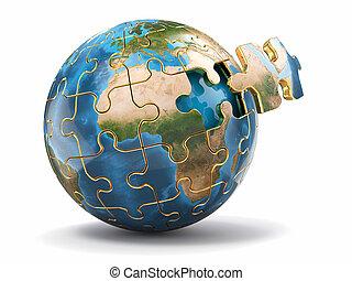 3d, tierra, concepto, puzzle., globalization.