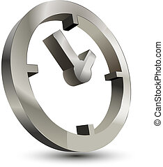 3d time clock symbol on white background