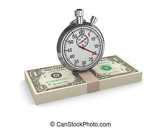 3d Time is money - stopwatch on US Dollars - 3d render of a...