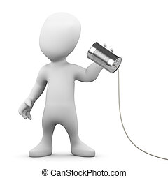 3d render of a little person using a tin can and string to communicate