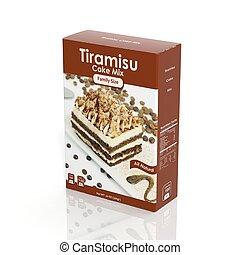 3D Tiramisu Mix paper package isolated on white