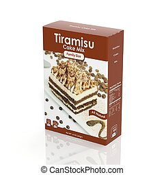 3D Tiramisu Mix paper package isolated on white