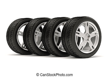 3d tire and alloy wheel on white ba - 3d tires and alloy ...