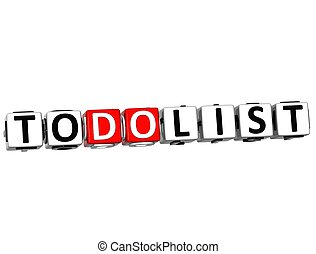 3D To Do List Cube text